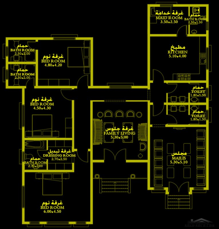 مخطط نمط اسلامي طابق واحد 240 متر مربع 3 غرف نوم