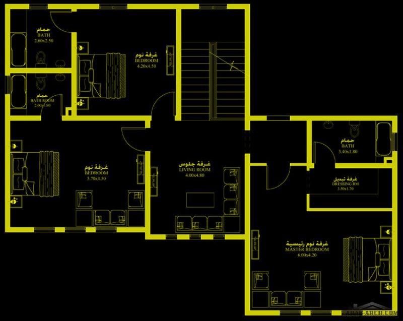 مخطط صغير المساحة قابل للتوسعه 3 غرف نوم