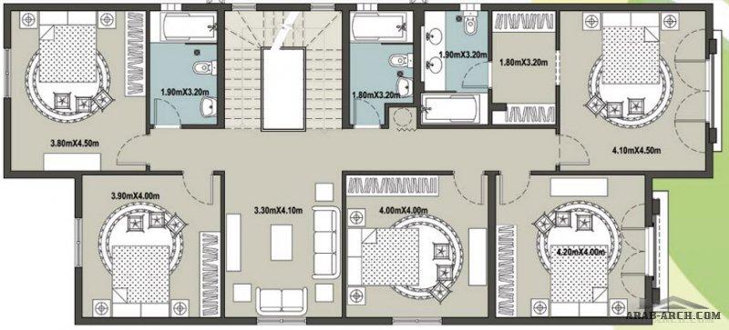 مخطط الفيلا جوري 5 غرف نوم مساحة الارض 400 متر مربع