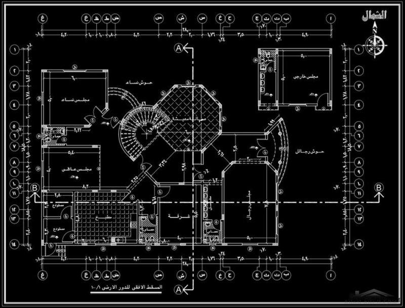 مساقط فيلا سعودي بتفاصيل معمارية كاملة 6 غرف نوم
