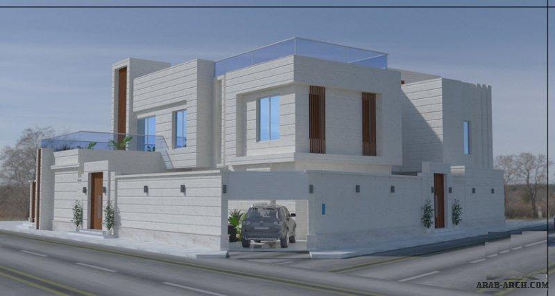 تصاميم و مساقط فيلا سعودي علي ارض  مشطورة من اعمال المهندس محمد فوزي
