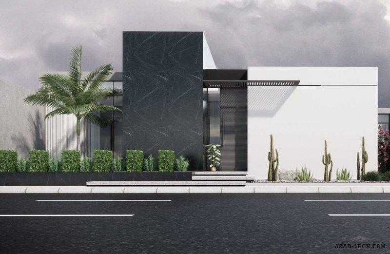 تصميم لفيلا من دور واحد على أرض 20*25 من اعمال Horizon Architects