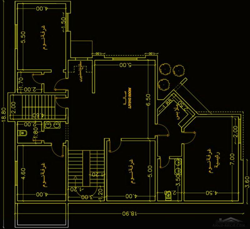 فيلا سعودي مساحة الارض 19*19 متر 4 غرف نوم