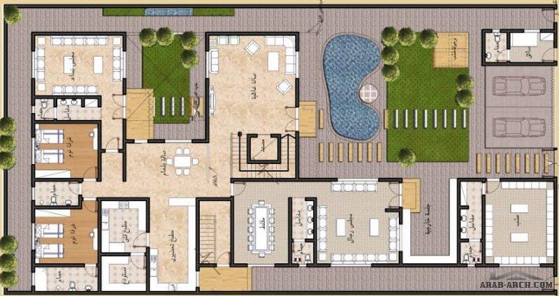 مخطط فيلا و  شقة مسروقة بالدور الثاني مساحة ٢٧٥ م٢ - م ياسر العبادي