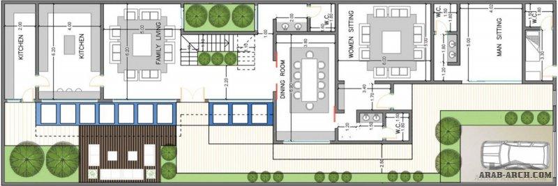مخطط معماري فيلا #مودرن بإطلالات على الحديقة ، بمساحة #أرض ٤٣٠ م٢  35*12 من اعمال شركة ثُلث مهندسون ومعماريون