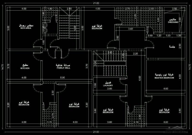 مخطط فيلا وشقه خلفية مساحه البناء 15*21 متر
