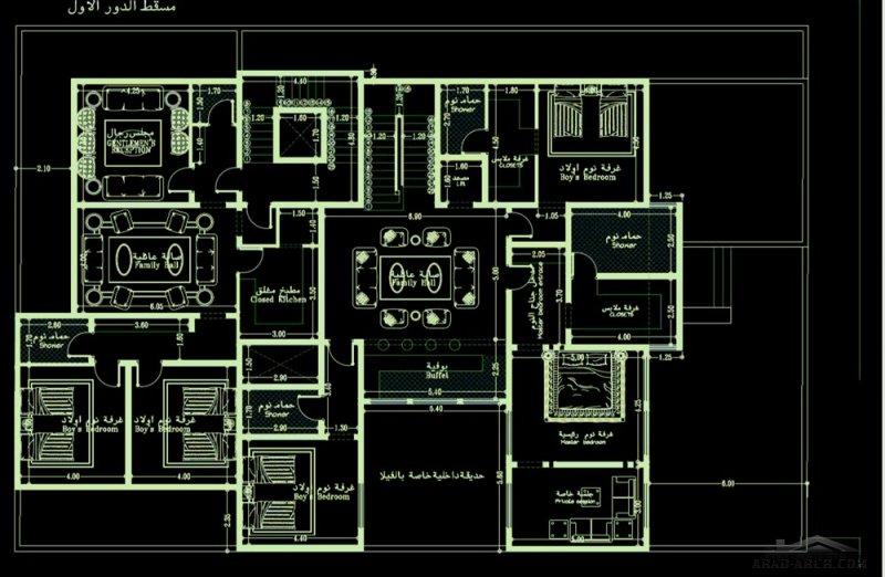 مخطط فيلا و شقة مسروقه ابعاد الارض 20*30 متر