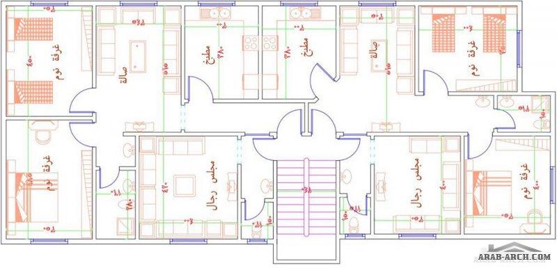 مخطط سعودي دور ارضي و شقتين بالاعلي مساحة الاض 25*12.5 متر