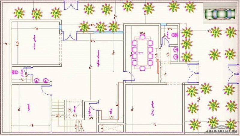 خرائط فيلا 3 طوابق ابعاد الارض 25 * 14 متر