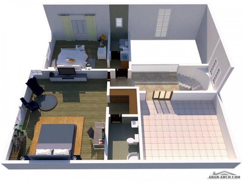تصميم خاص لفيلا طابق و نصف بمطبخ خارجي