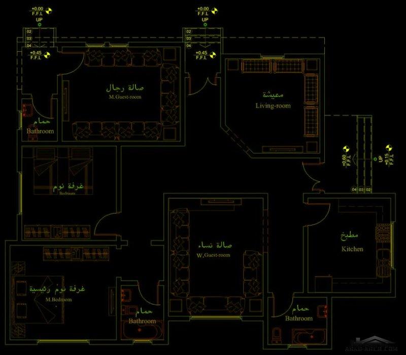 تصميم 180 متر مربع طابق واحد من تصميم  المهندس اشرف العماري