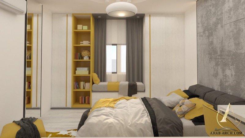 غرفة نوم بكامل إحتياج العميل مكتب + تلفزيون + جلسه مع استغلال للمساحات من أعمال الاثير ديزاين
