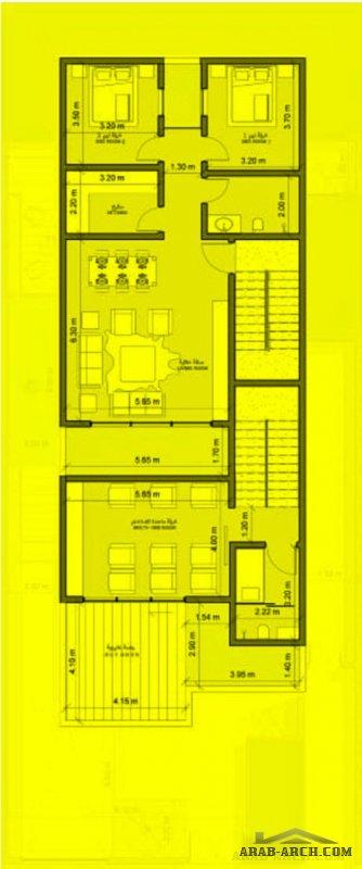 مخطط فيلا دورين وشقق مسروقة مساحة الارض 12.5x30 من تصميم شركة فأس