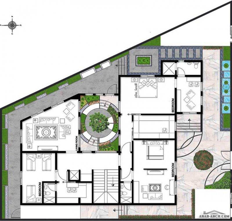 تصميم لفيلا خاصة في جدة نيو كلاسيك مساحة الأرض : ٤٤٨ متر مربع تصميم م. سارة محمد