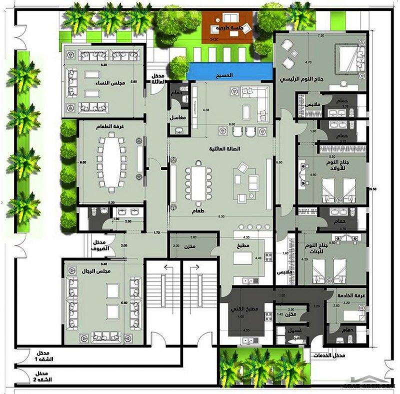 خطة فيلا يالارضي و شقتين بالدور العلوي لكل شقة درج منفصل من اعمال المصممة مهندسة  مرام مختار