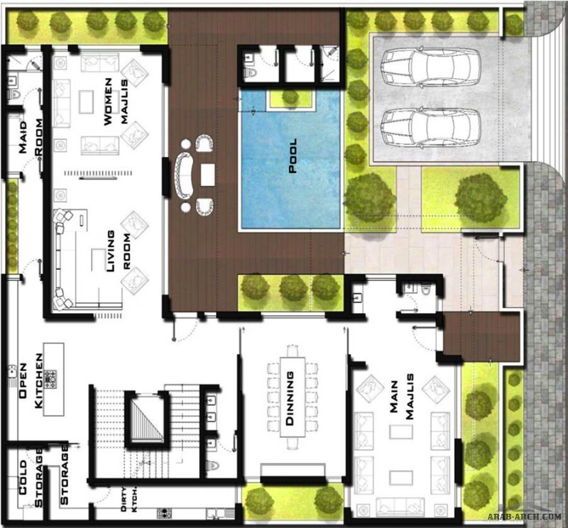 مخطط فيلا مودرن سعودي من اعمال المعماري فيصل الوادي