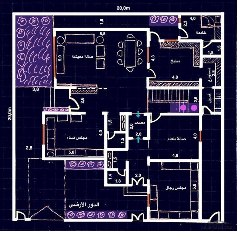 مخطط فيلا دورين وملحق علوي مساحة الارض 20x20 متر