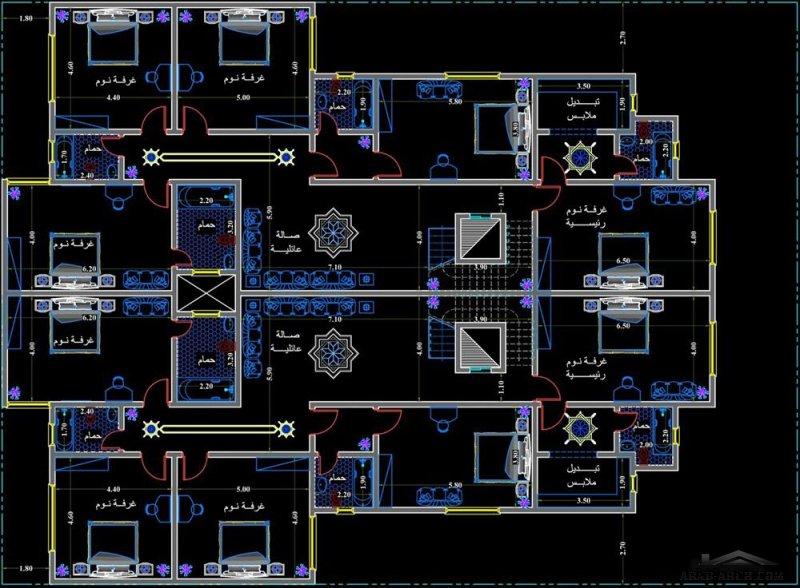 خطة فيلا دوبلكس توأمية مساحة الارض 22x30 متر تصميم م/وائل البرهمي