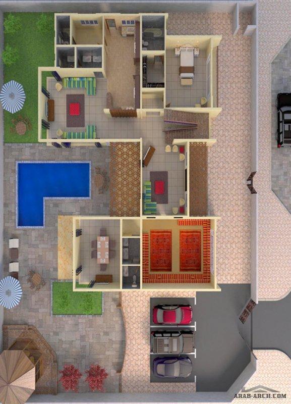 تصميم فيلا مودرن لأحد عملائنا 6 غرف نوم بمساحة كلية 691 متر مربع من اعمال رويال دوم  للاستشارات الهندسية