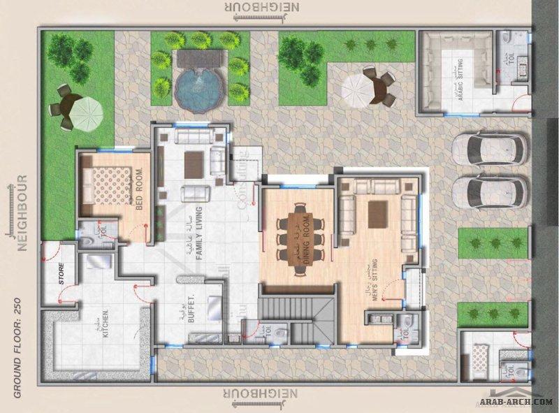 مخطط فيلا 400 متر مربع مساحة الارض الدور الارضي 250 متر مربع الدور الاول 230متر مربع من ثلث مهدسون معماريون