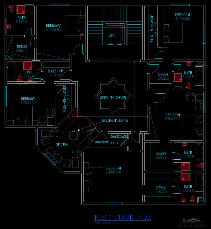 مخطط فيلا طابقين مساحة الطابق 360 متر مربع 5 غرف نوم ماستر