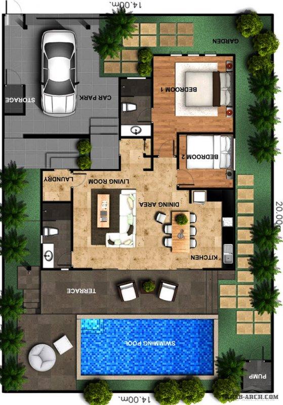 تصاميم استراحة خاصة مع حوض سباحة  ابعاد الاض 14* 20 متر