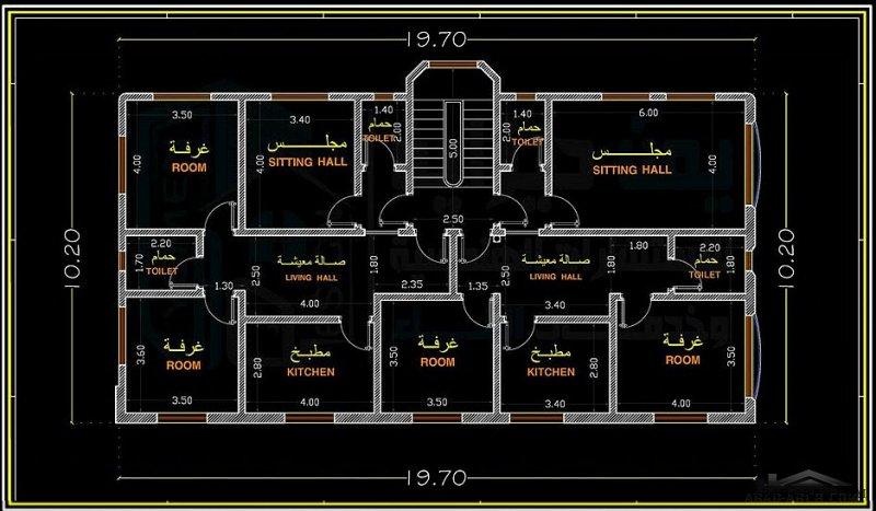 تصميم منزل سكني مكون من فيلا دور ارضي وشقتين دور اول . (مكتب يمن ديزاين للاستشارات الهندسية وخدمات البناء)