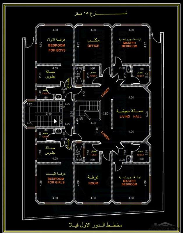 تصميم فيلا سكنية نظام دوبليكس وعمارة النظام الاستثماري الجديد دورين فيلا وباقي الاداور شقق سكنية ايجار بمدخل خاص بها .مساحة الارض 310 متر مربع