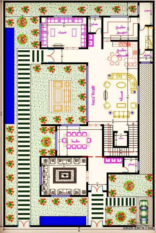 مهندس أشرف التوني مخطط فلا منزل بحديقة20*30 متر