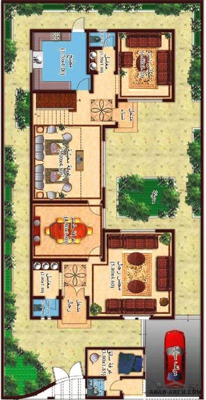 خرائط فلل إبداع السكني مساحة الاض 385 متر مربع  - 8 غرف نوم