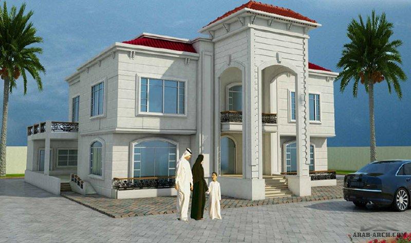 التصميم لفيلا 640 متر مربع طابقين و رروف 5+2 غرفة نوم DD+3