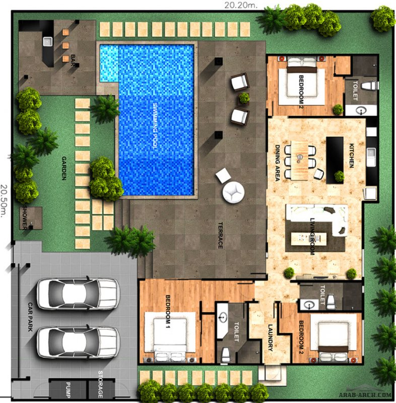 خرائط استراحات مخصصة لمشروع Pool house floor plans
