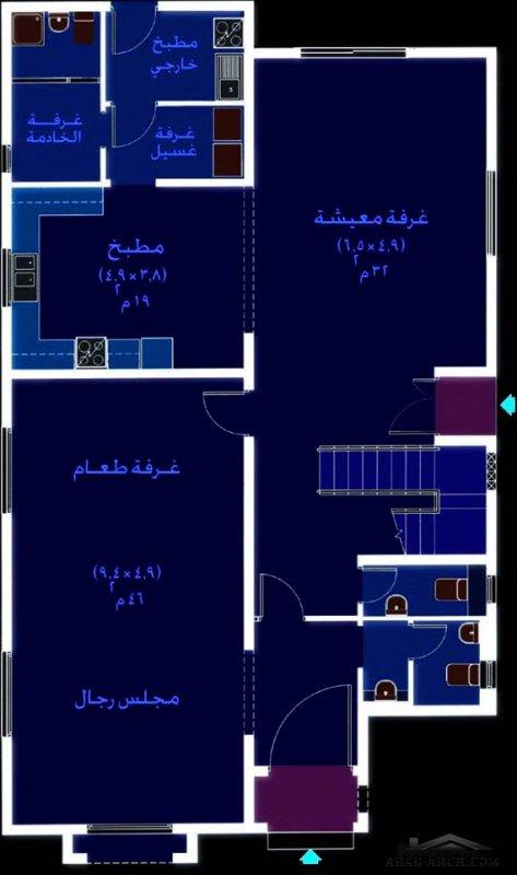 فيلا صعيرة المساحة نمط سعودي 5 غرف نوم
