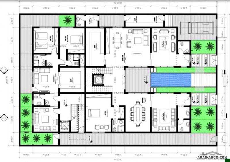 مخطط فيلا دورين وشقق بالخلف  مساحة الارض 20x30