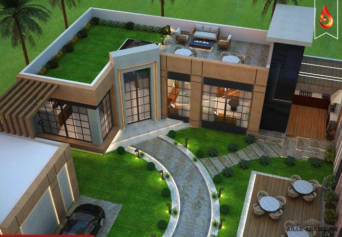 مخطط استراحة خاصة مع حديقة خارجية ومنطقة الشواء مصممة بطريقة متناسقة من أعمال مكتب المتألق للاستشارات الهندسية Arab Arch