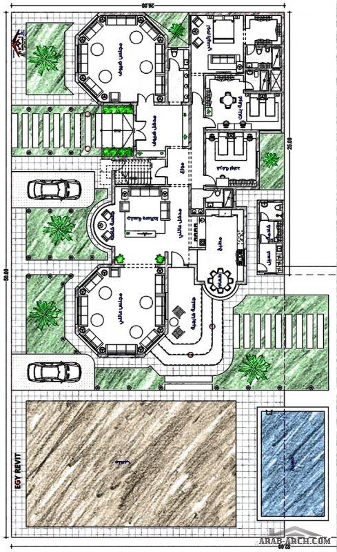 مخطط فيلا دور واحد مع حديقة و ملعب و مجلس خارجي من تصميمات ايجي ريفيت