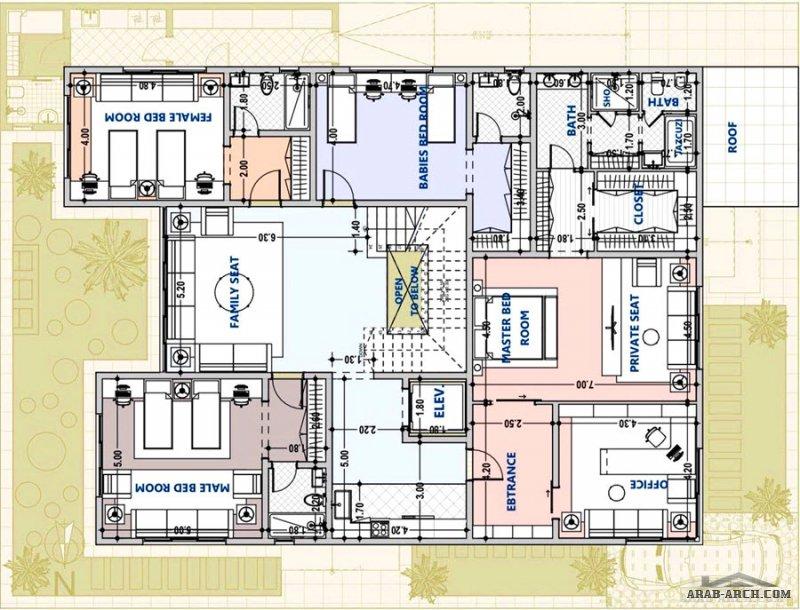 مخطط فيلا دورين مساحة الارض 19x25  تصميم م/ محمد سليم