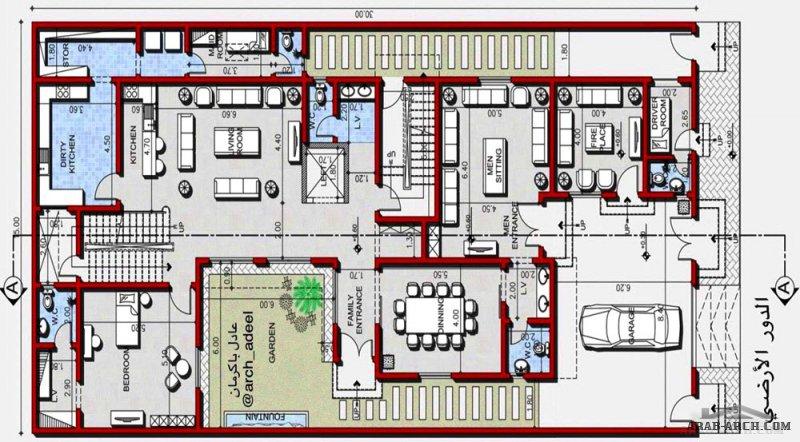 مخطط فيلا دورين وملحق علوي مساحة الارض 15x30من تصميم م/عادل باكرمان