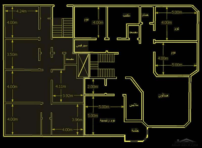 مخطط بيت العمر والمصمم على أرض مساحتها ( 20.5*30 م) فيلا وشقق خلفية
