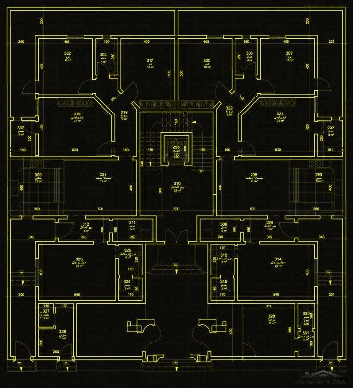لمخطط  شقتين ارضية بمدخل جانبي + دور كامل   مساحة 600   25×24 م شارع واحد