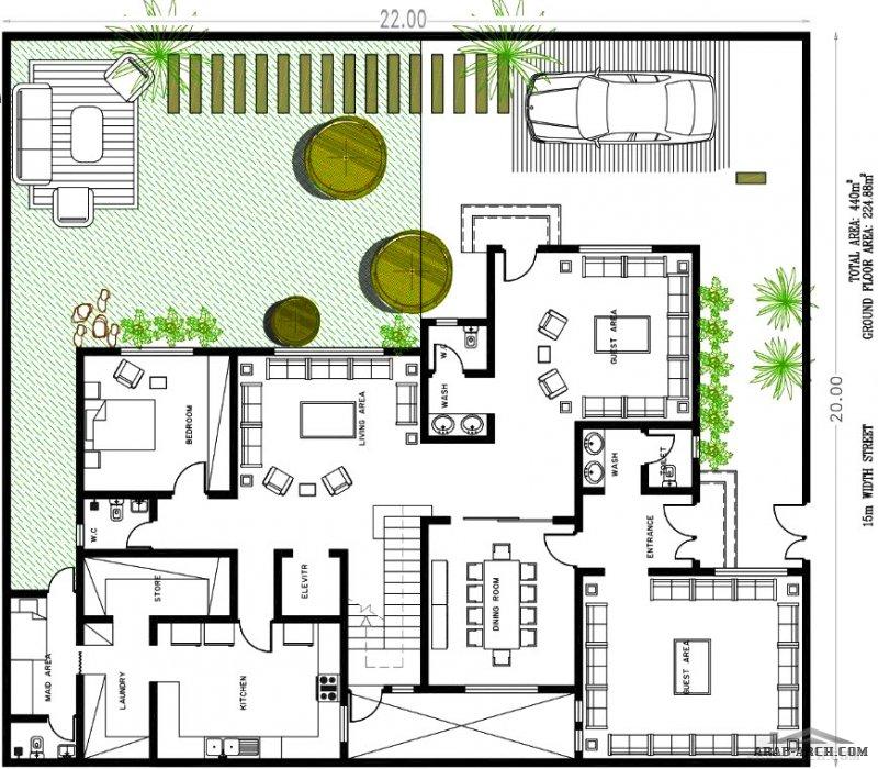 مخطط فيلا دورين وملحق لمساحة أرض 20×22 من تصميم شركة عمار للمهندس / مقبل الواكد