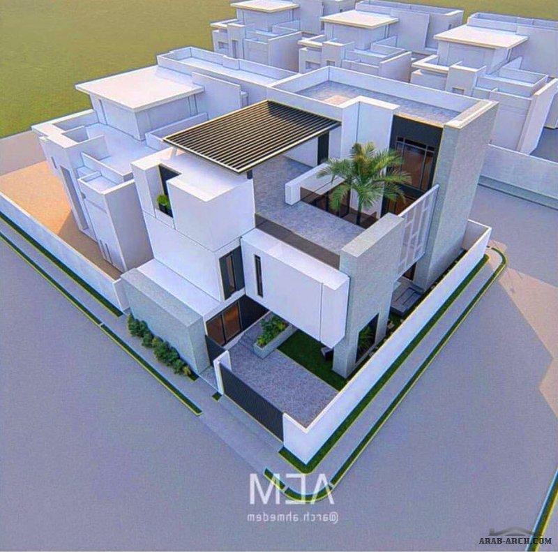 مخطط فيلا دورين وملحق علوي مساحة الارض =18.7x25 تصميم المعماري أحمد المسلم - الدمام