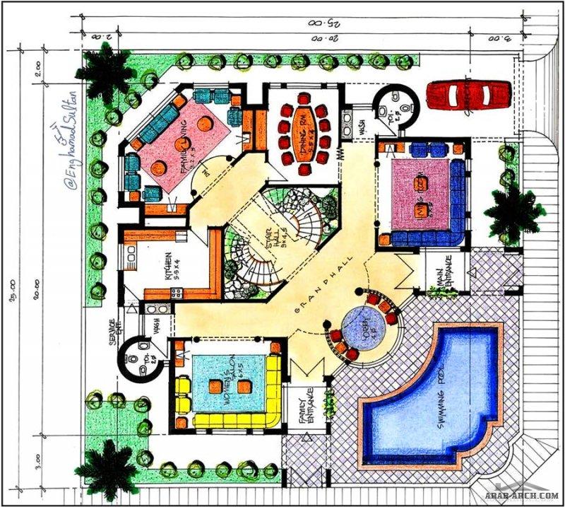 فكرة مخطط رقم14 فيلا طابقين الاض 25*25 متر  eng.Hamad Sultan