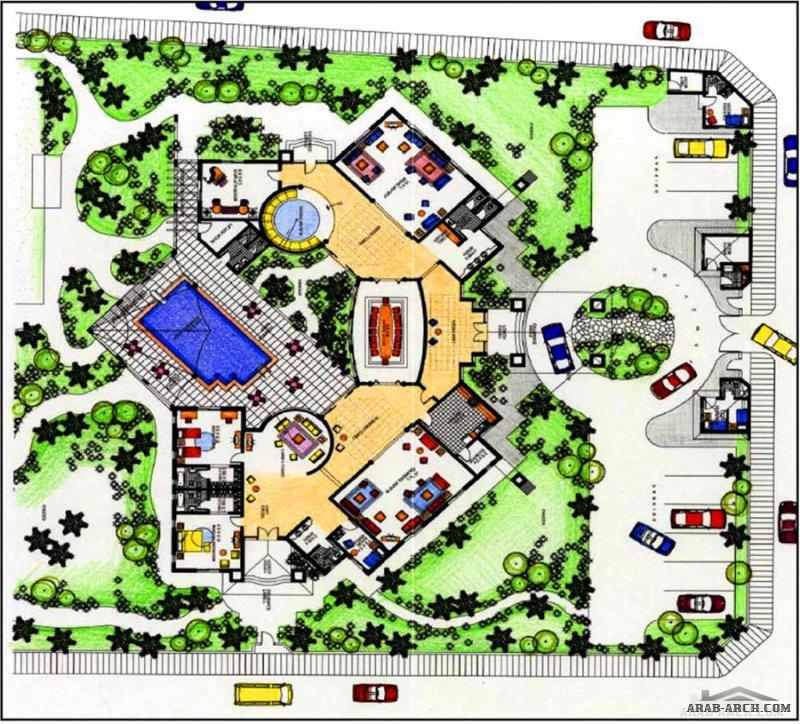مخطط استراحة كبيرة المساحة تصميم مميز فكرة 45 eng.Hamad Sultan