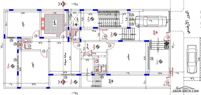 مخطط فيلا بدروم  و ارضي و علوي  علي خطة  ارض 25*12 متر