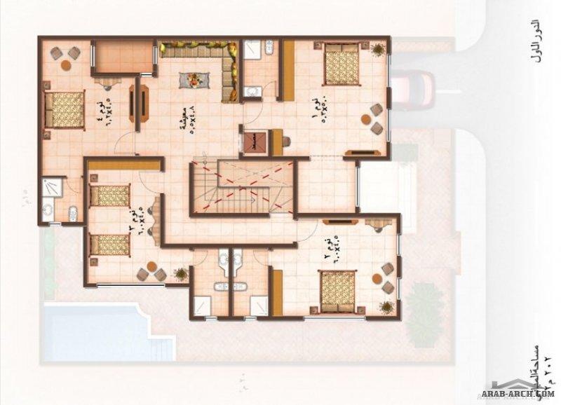 مخطط فيلا ابي طيبة مساحة الارض 300 متر مربع مساحة البناء 555 متر مربع 4 غرف نوم 3طوابق