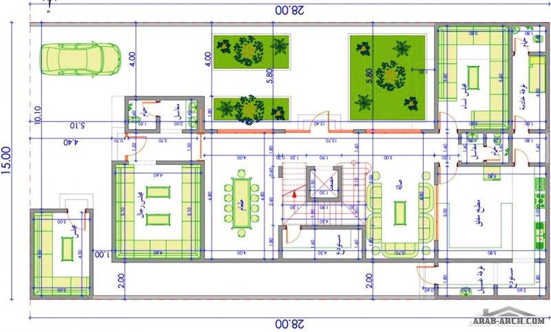 بيت سعودي تصميم مودرن 4 غرف نوم مساحة الاض 28*15 متر
