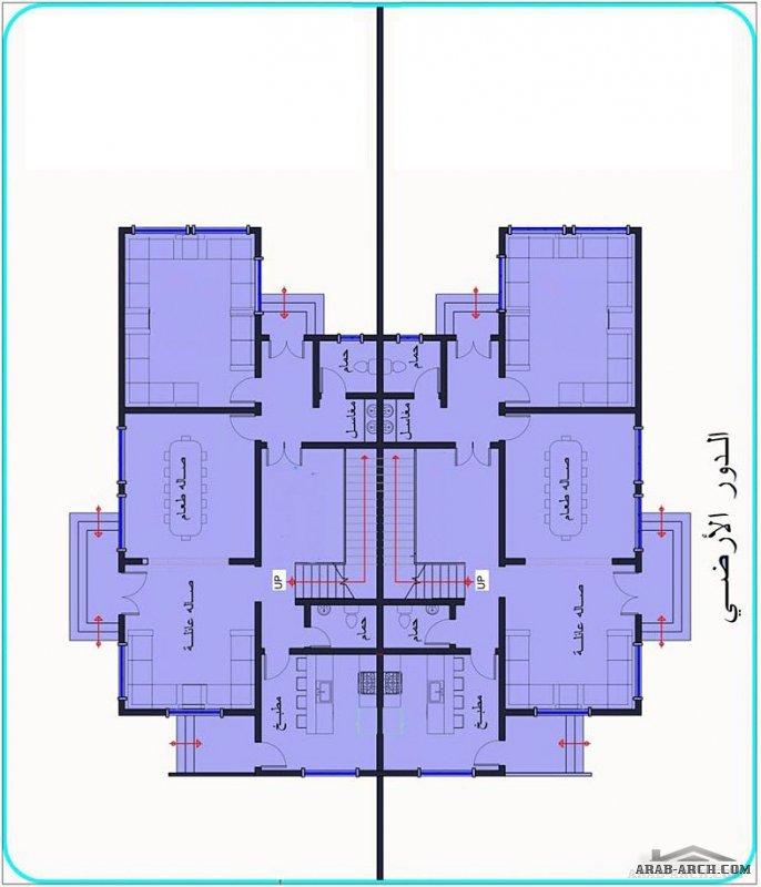 تصميم فلة سكنبة دوبلكس تووين صغيرة المساحة للمهندس  رشيد السامعي