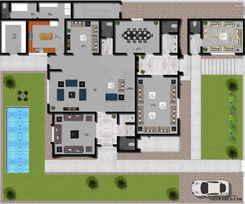 فيلا و شقة علوية بدرج مستقل من أعمال الحسن للاستشارات الهندسية مخطط فيلا مودرن | Modern villa plan