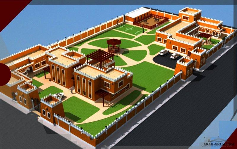 مخطط لاستراحة تصميم تراثي كبيرة 94*50 متر من اعمال مداد للاستشارات الهندسية حائل